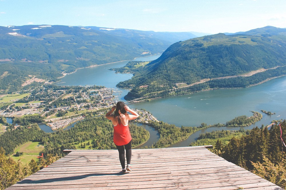 Woman walks on the Sicamous Lookout