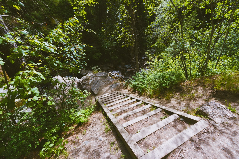 The staircase at the top of the first waterfall at Mill Creek Regional Park