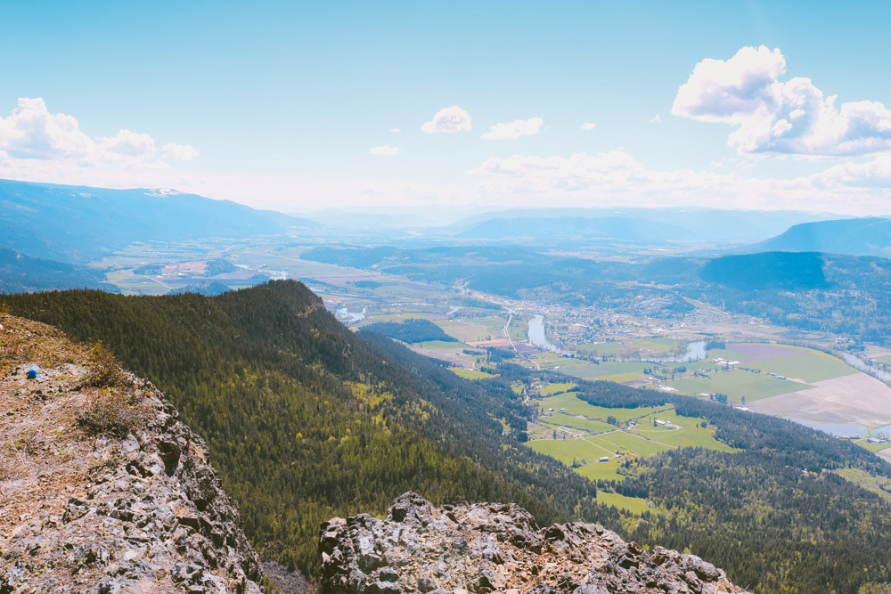 View towards Vernon from the top of the Enderby Cliffs Provincial Park in the North Okanagan.