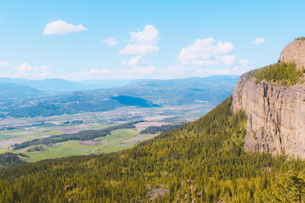 Panoramic view from a viewpoint ear the summit of the Enderby Cliffs