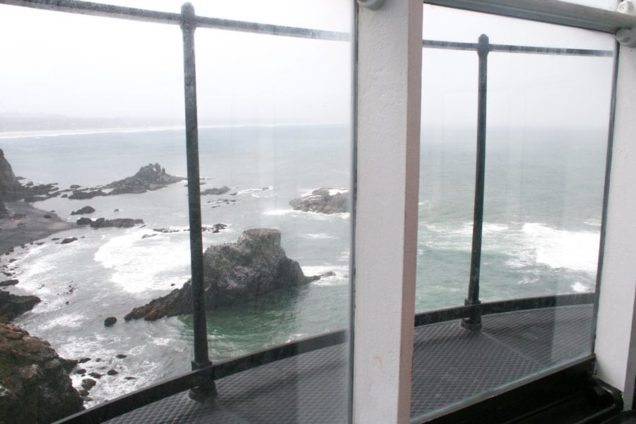 View of the rugged Oregon coast from the top of Yaquina Head Lighthouse