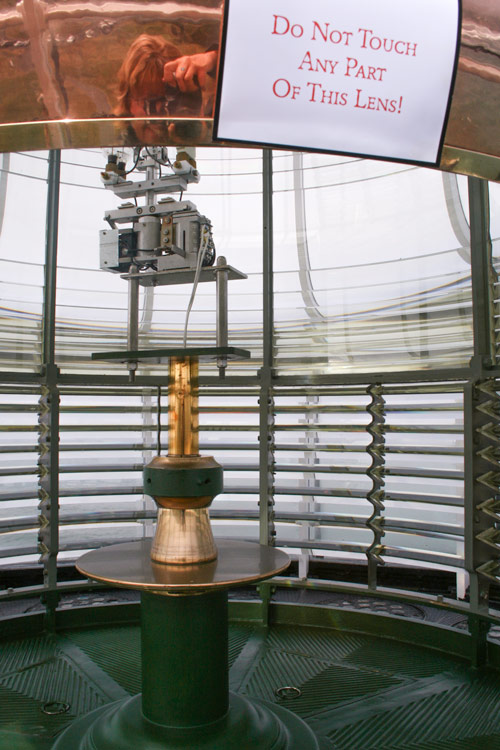 The original French-made Fresnel lens in the tower of the Yaquina Head Lighthouse in Oregon.