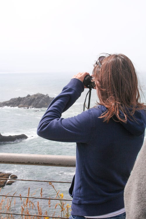 Sam from Explore the Map looks through binoculars towards the rugged Oregon coastline.