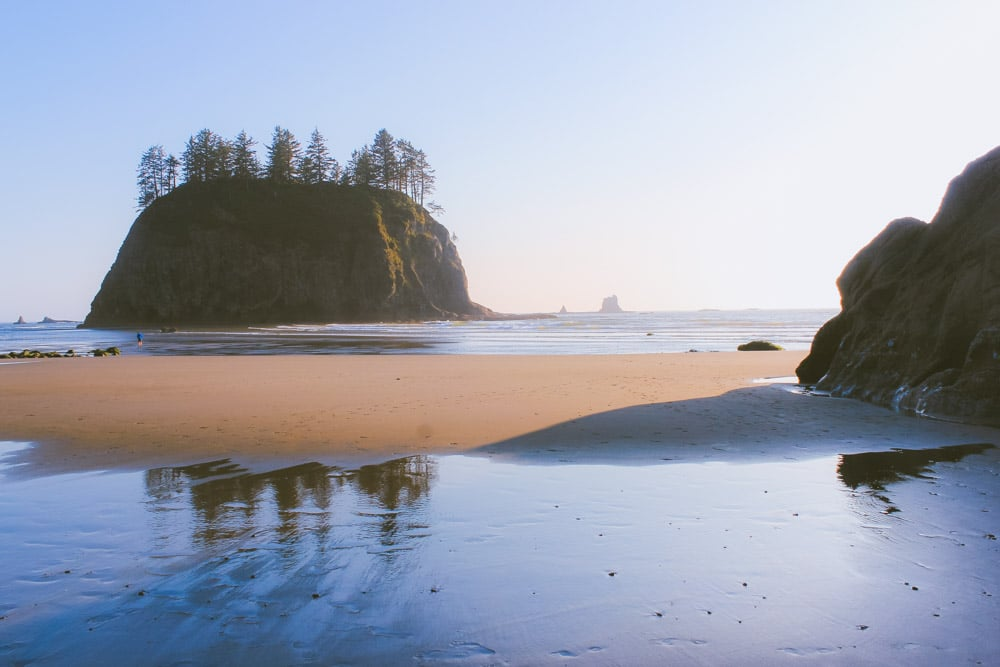 Second Beach during sunset, featuring a large sea stack and sandy beach.