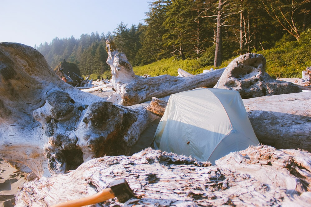 A tent nestled in the driftwood near the forest at Second Beach.