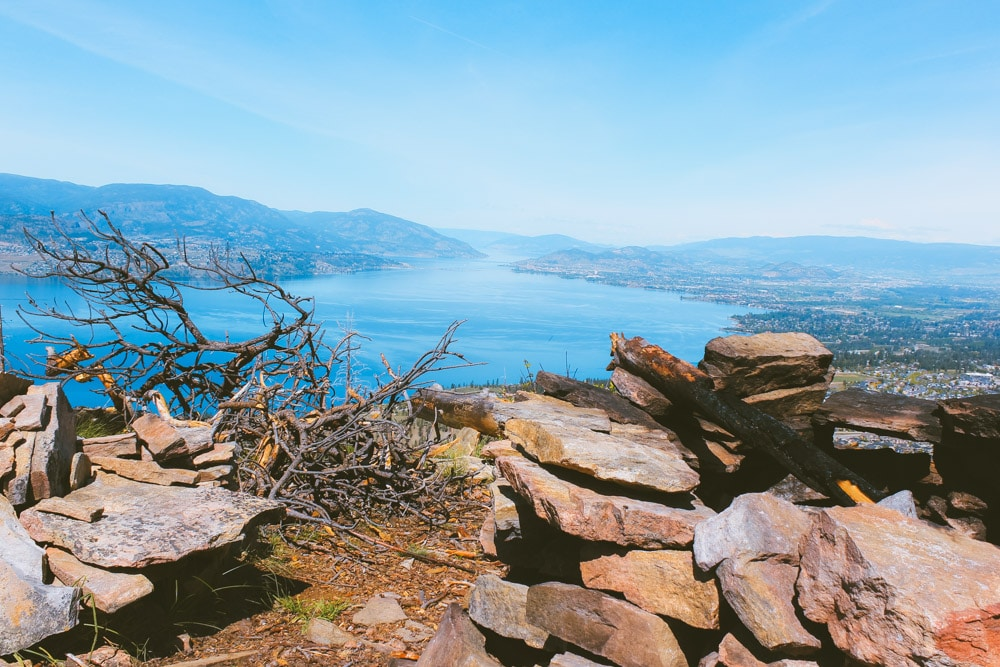 The firepit and chairs at the Johns Family Nature Conservancy hike with views of Kelowna, West Kelowna, and Okanagan Lake.
