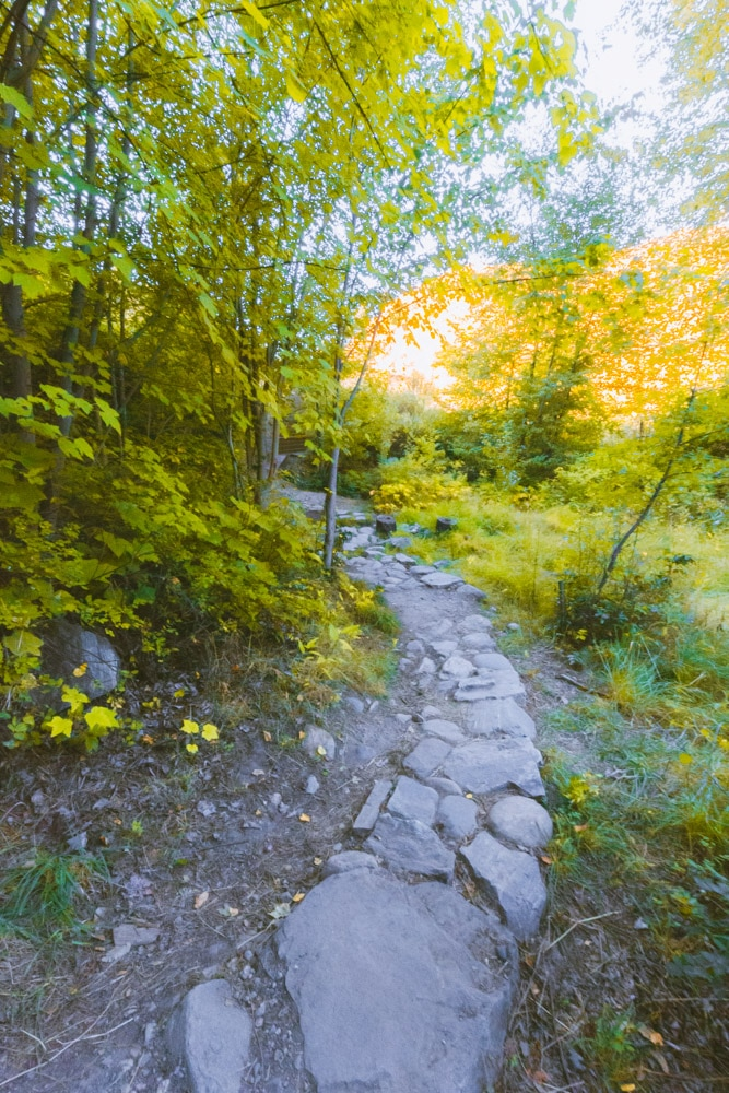 A rocky path through a canyon to the lower Crawford Falls.