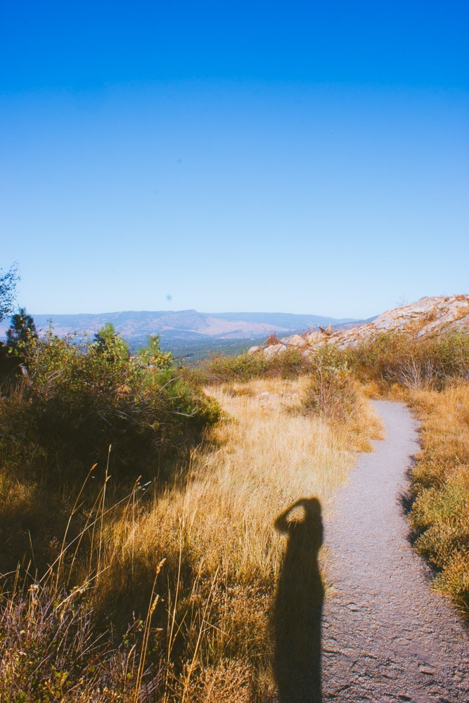 A wide, gravel trail surrounded by dry grass at Kuipers Peak.