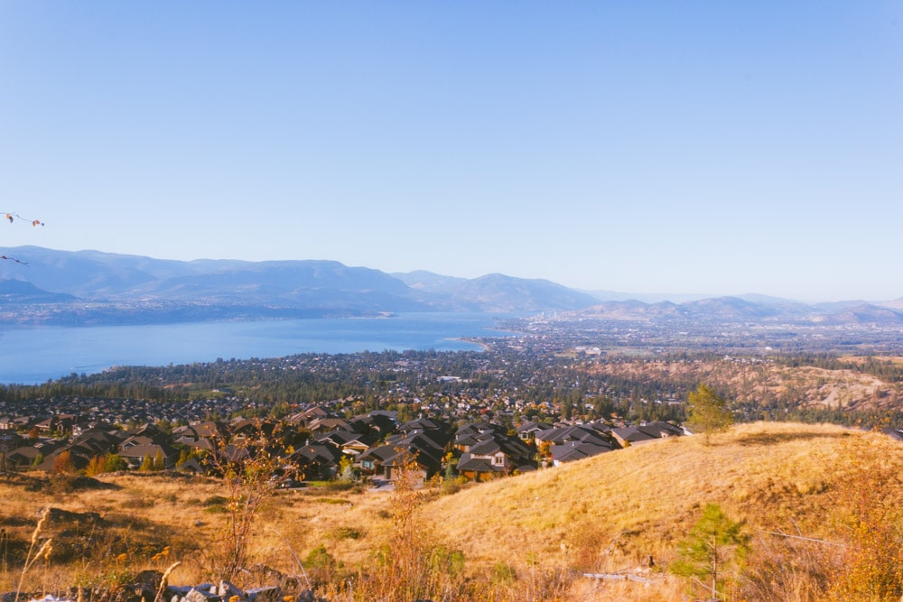 View of the upper Mission, Kelowna, and Okanagan Lake from Kuipers Peak Mountain Park.