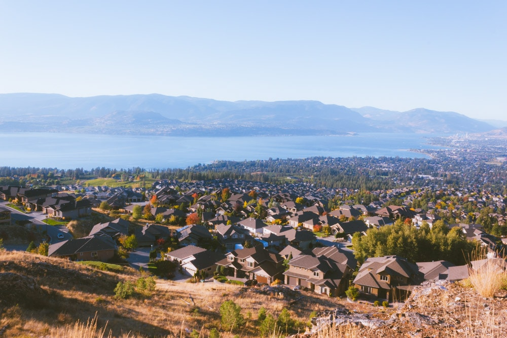A birds-eye-view of houses in the Mission in Kelowna from the main viewpoint at Kuipers Peak.