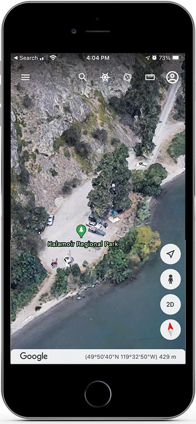 The Google Earth hiking app on an iPhone