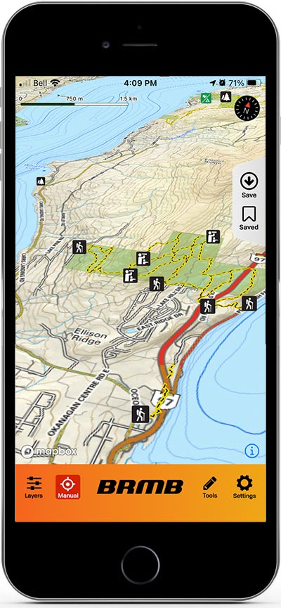 The Backroads Mapbook hiking app on an iPhone