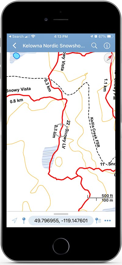 The Avenza Maps hiking app on an iPhone