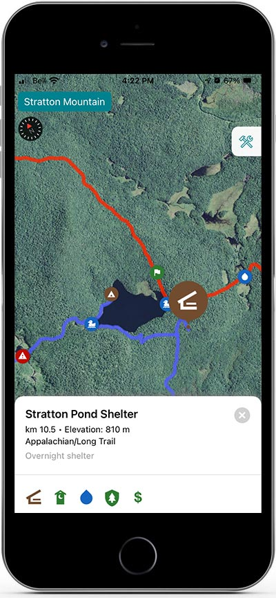 The Guihook Guide thru-hiking app on an iPhone