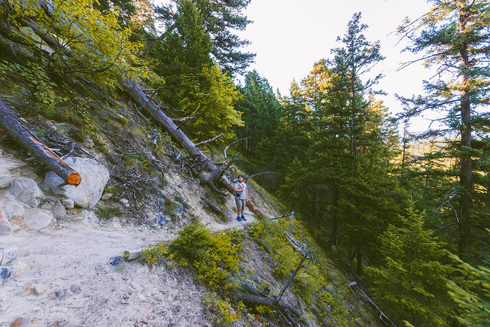 A man stands on the trail near the base of the Pillar. Steep drop offs.