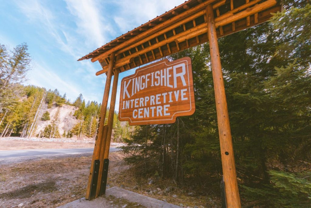 Sign at the entrance to the Kingfisher Interpretive Center near Enderby and Mabel Lake