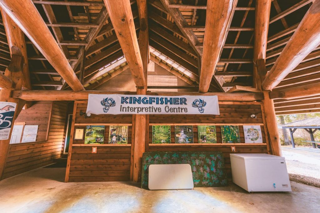 Inside the wooden building at Kingfisher