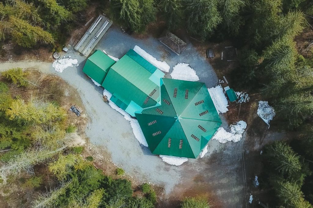 Aerial view of the Kingfisher Interpretive Centre's building