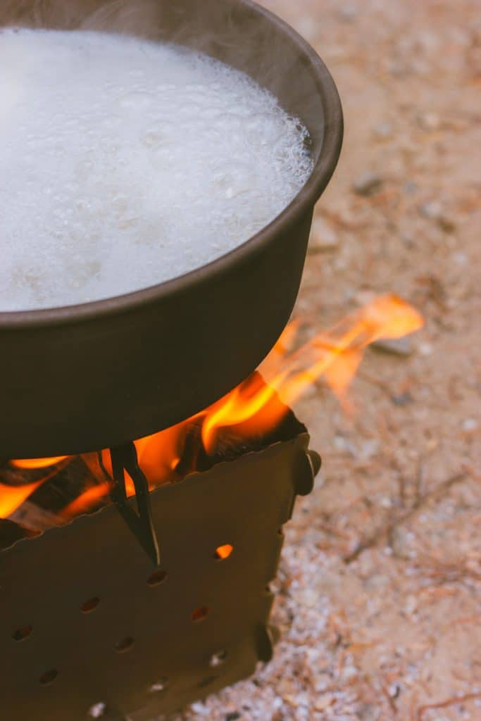 Boiling pasta on the Siege Stove while camping